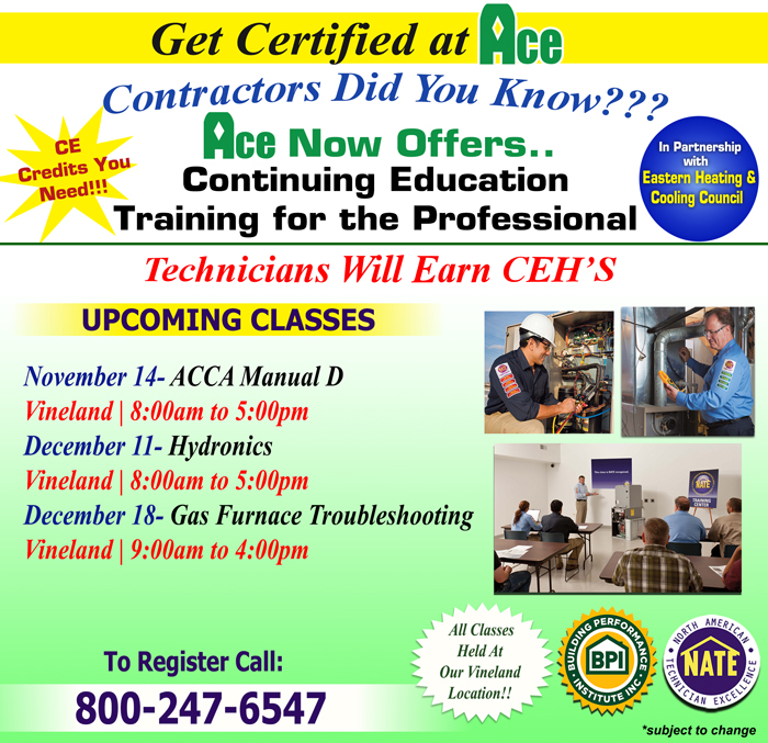 continuing education ace plumbing heating electrical supplies
